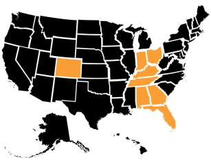 Operating in Minnesota, Wisconsin, Michigan, Illinois, Missouri, Indiana, Ohio, Kentucky, Tennessee, Virginia, Maryland, Alabama, Georgia, Florida, and Colorado
